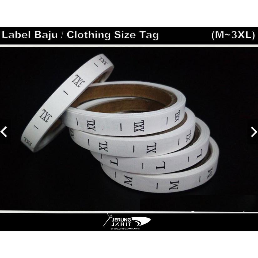 Label Baju / Clothing Size Tag (XS~3XL)