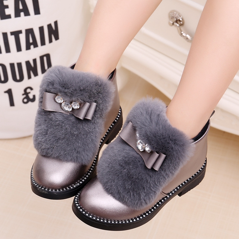 UK Baby Girls Kids Leather Ankle Boots Winter Flat Toddler Thick Casual Shoes KL