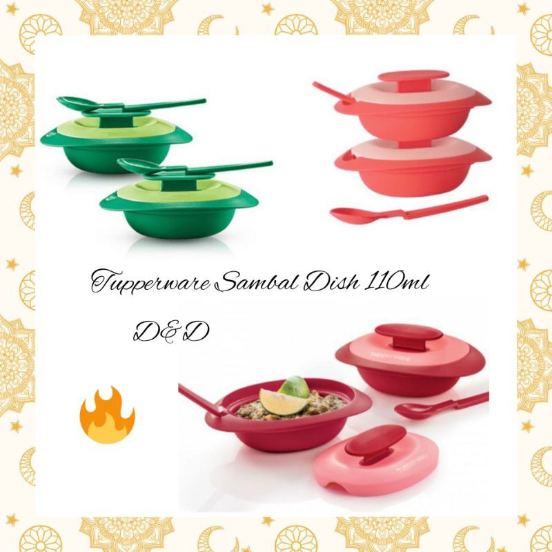 Tupperware Sambal Dish With Spoon (1) - 110ml [Coral/Emerald Green/Red]