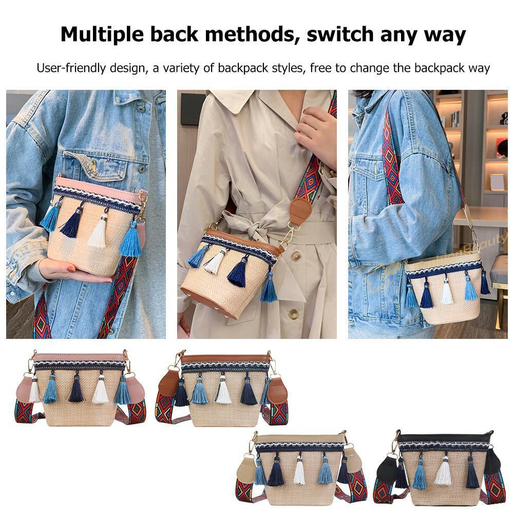 ^;^ Crossbody Bag Women Weave Wide Shoulder Messenger Boho Straw Tassel