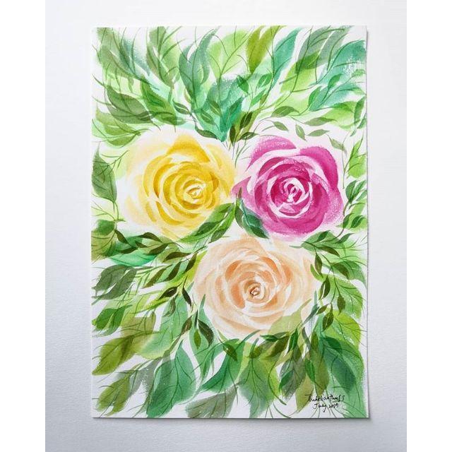 Lukisan Bunga Original In A4 Size Shopee Malaysia