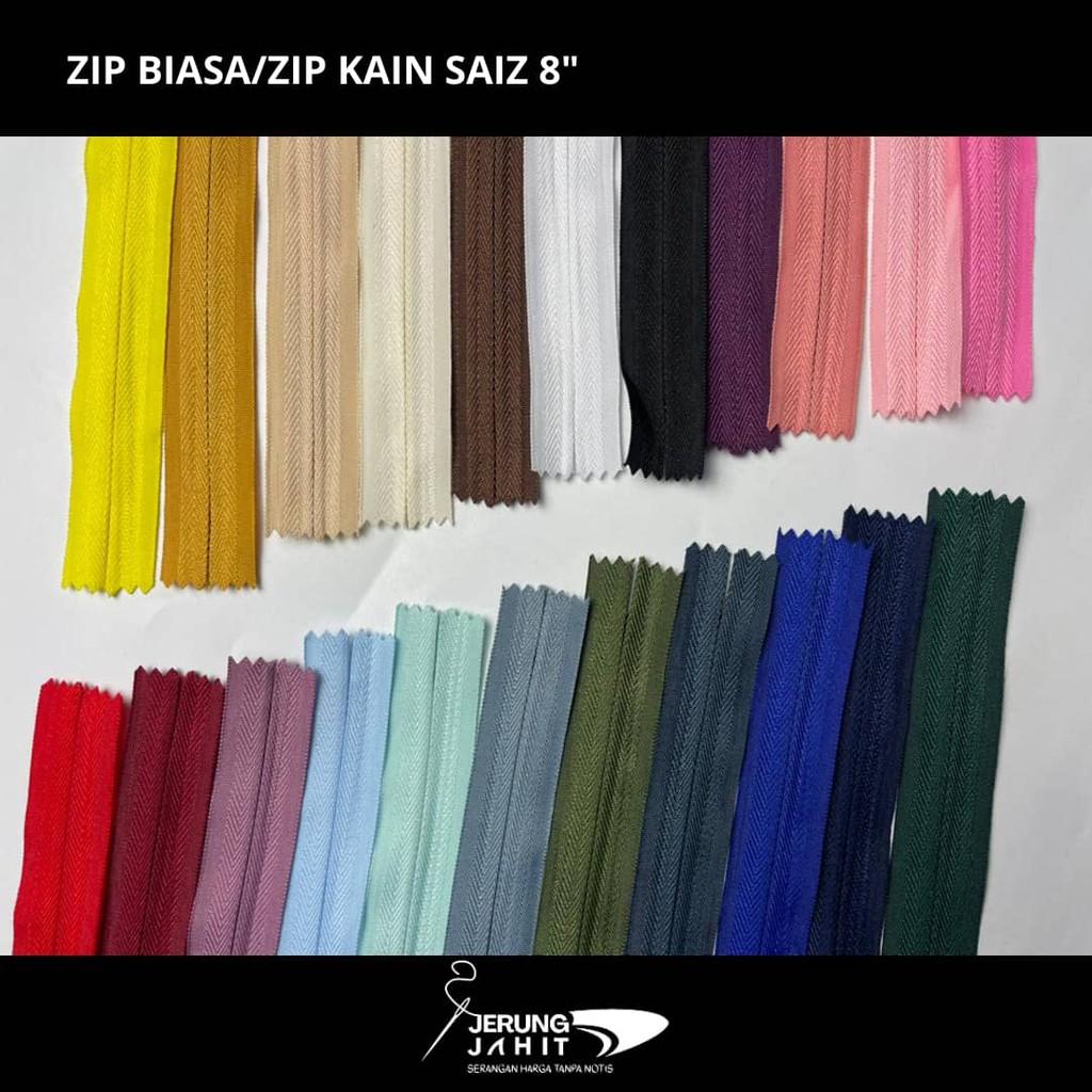 """Zip Biasa / Zip Kain - 8"""" (1 Dozen / 12 pcs)"""