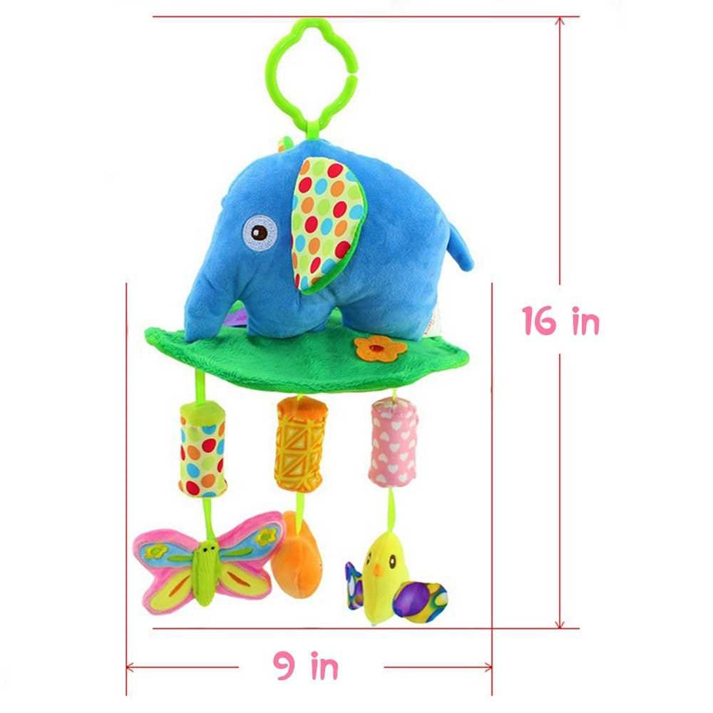 Baby Soft Rattle Toys Stroller Crib Hanging Bell Puppet Toys Animal Wind Chime Elephant (Blue)