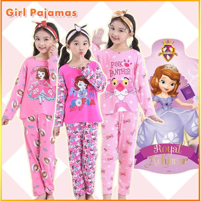 2pcs Set Girls Pyjamas Baju Tidur Kids Pajamas Cartoon Sleepwear Nightwear Shopee Malaysia