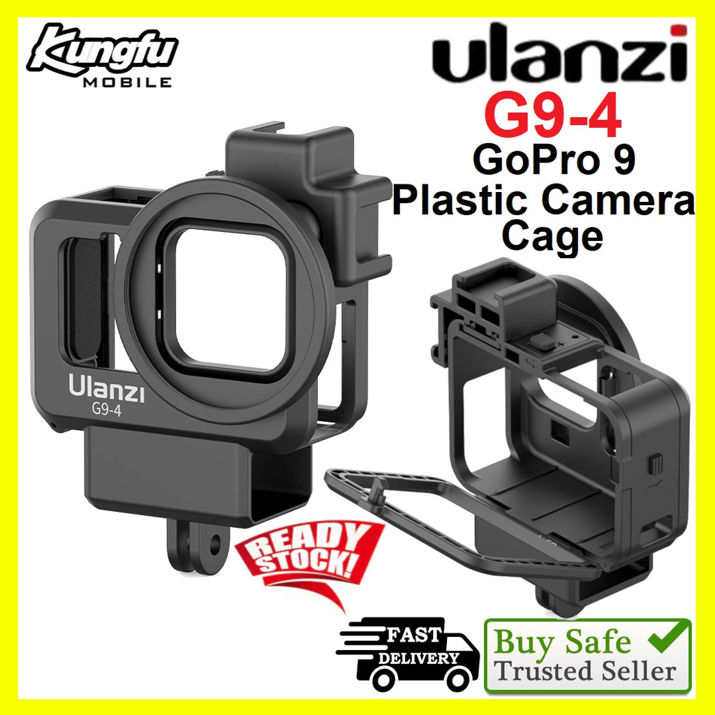 Ulanzi G9-4 GoPro 9 Plastic Camera Cage Black Housing Case with Mic and Fill Light Cold Shoe Vlog