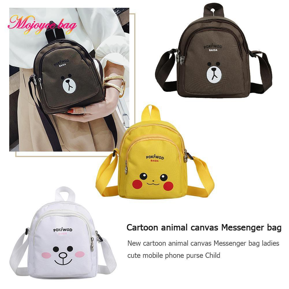 Cartoons Print Messenger Shoulder HandBag Crossbody Women Yellow Bag