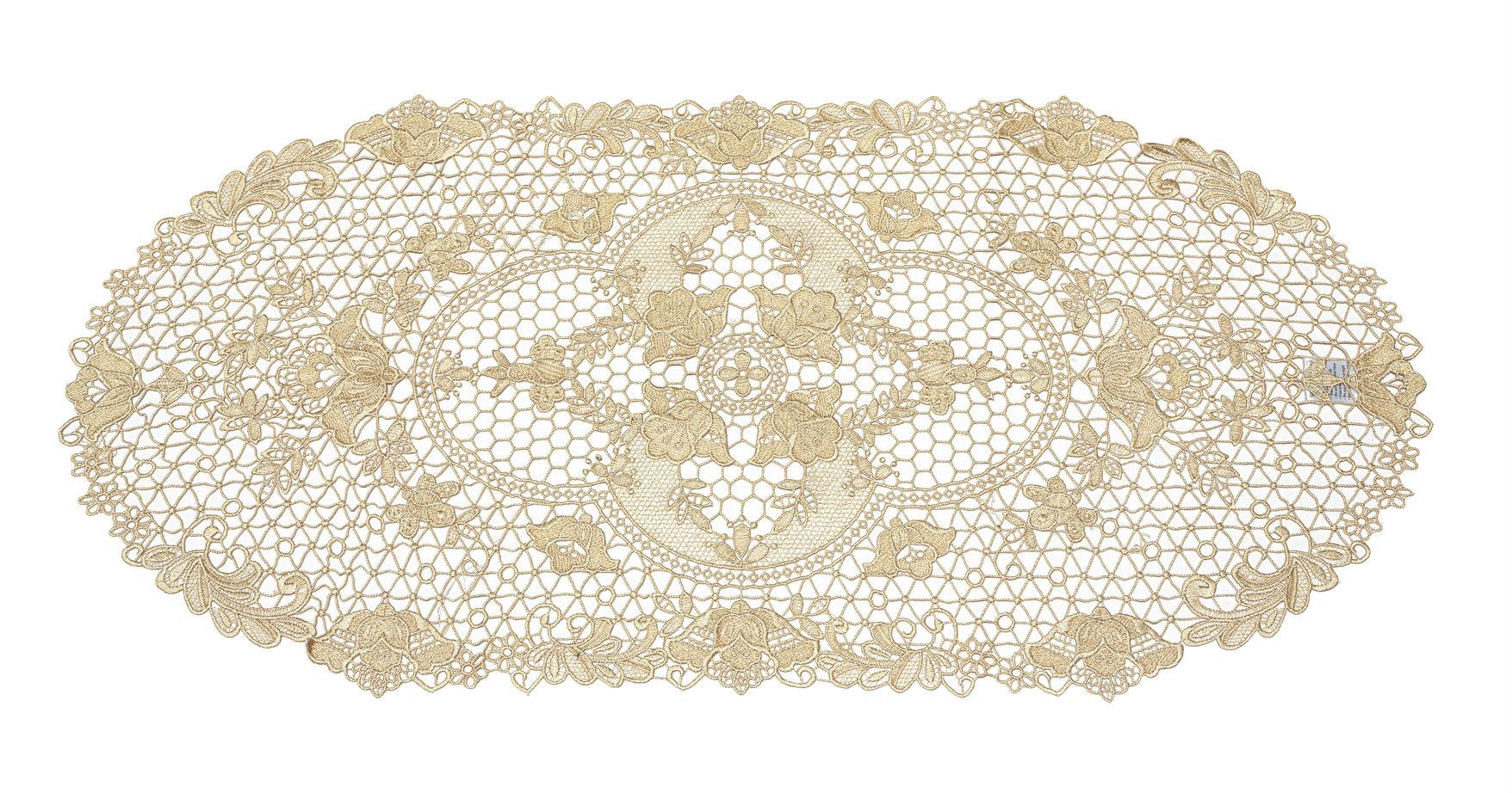 Tatting Lace Floral Soft Polycotton Oval Table Runner/Dresser Scarf. SRB39 Multi-Size (Ecru)