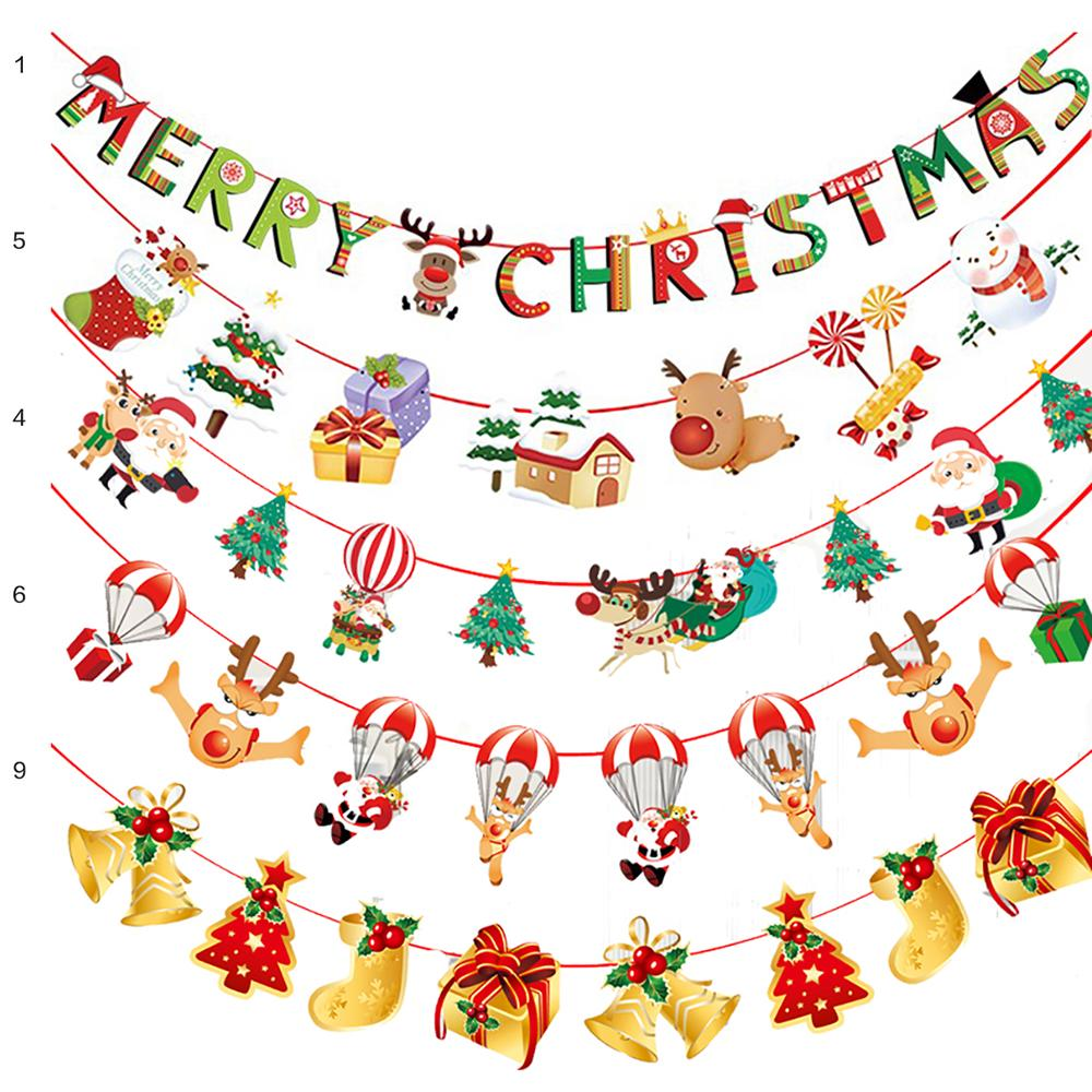 Christmas Festival Cartoon Images.Christmas Decorations Cartoon Flag Pennant Holiday Party Hanging Flags New