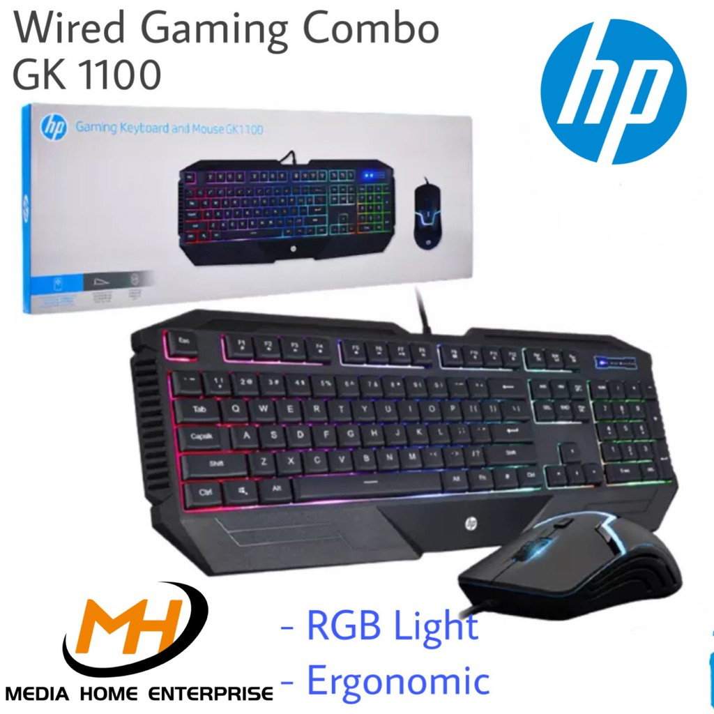 HP Gaming Wired Keyboard and Mouse Combo GK1100 - LED, Ergonomic