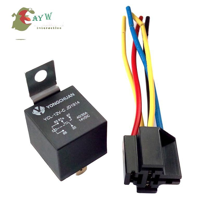 AYW♘ DC 12V Car SPDT Automotive Relay 5 Pin 5 Wires with Harness on
