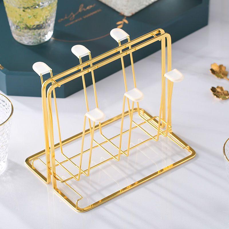 玻璃杯置物架沥水挂架杯子收纳架放茶杯的杯架带托盘家用水杯Glass racks, drain racks, cup storage racks, cup holders for te