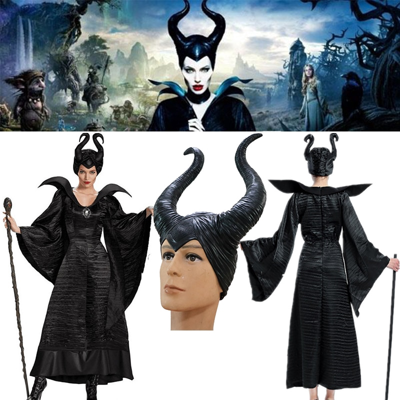 Movie Maleficent Cap Costume Evil Witch Cosplay Latex Horns