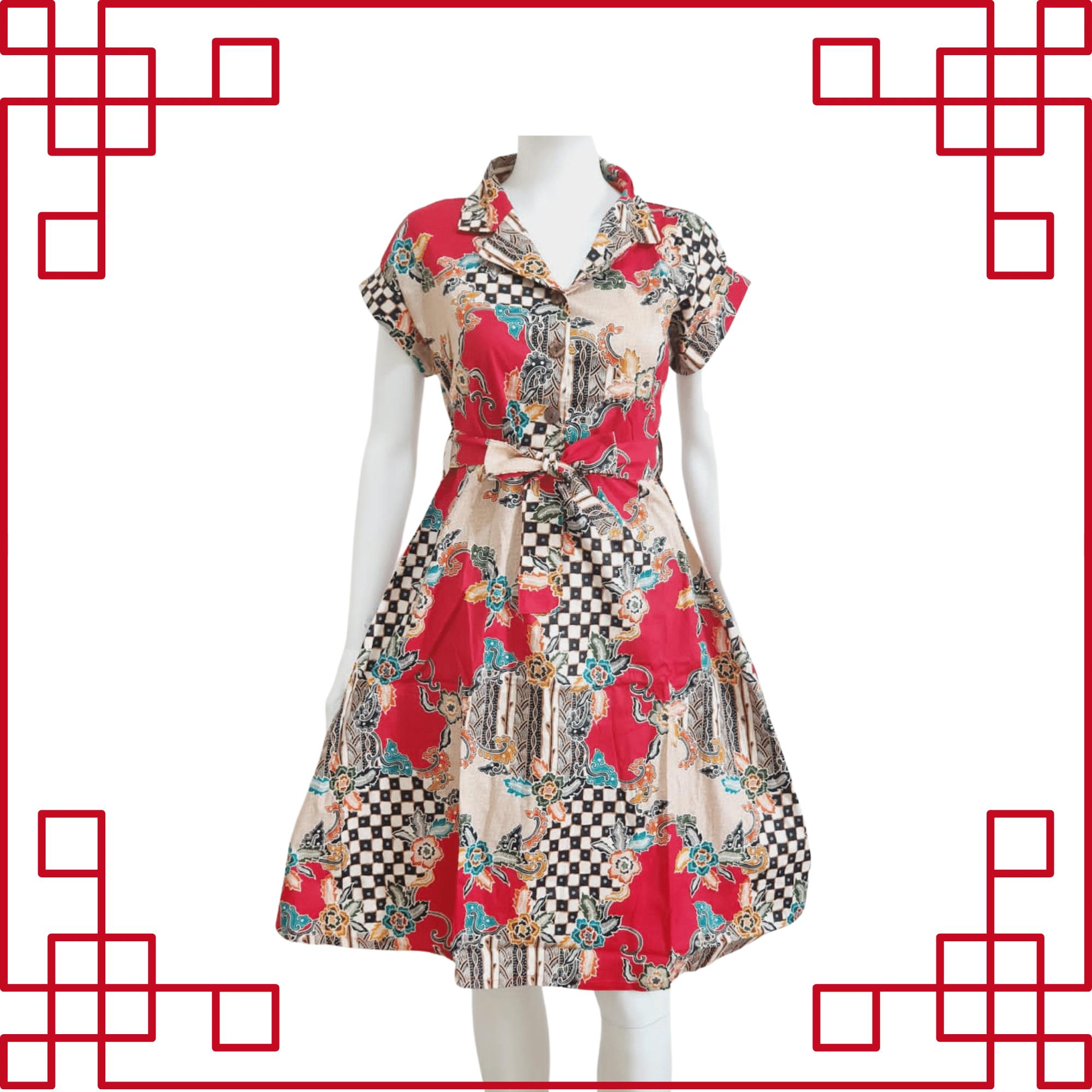Cheongsam Batik Red Dress Sleeveless 723A