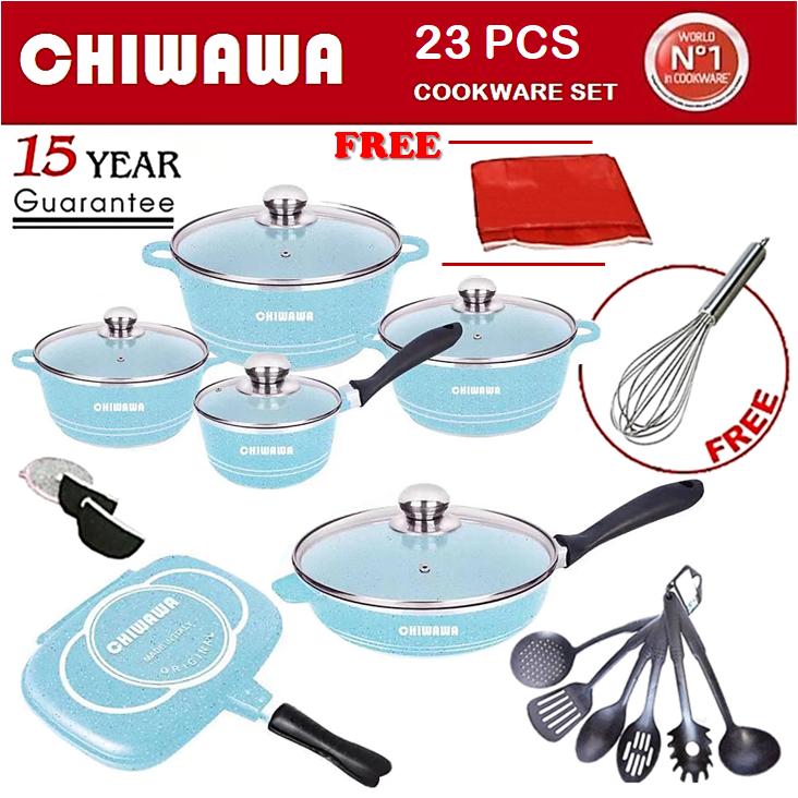 【ORIGINAL】CHIWAWA ITALY 23 Pcs Die Cast Aluminium Non Stick Casserole Pot Bowl Double Side Pan Cookware Tool + Cover