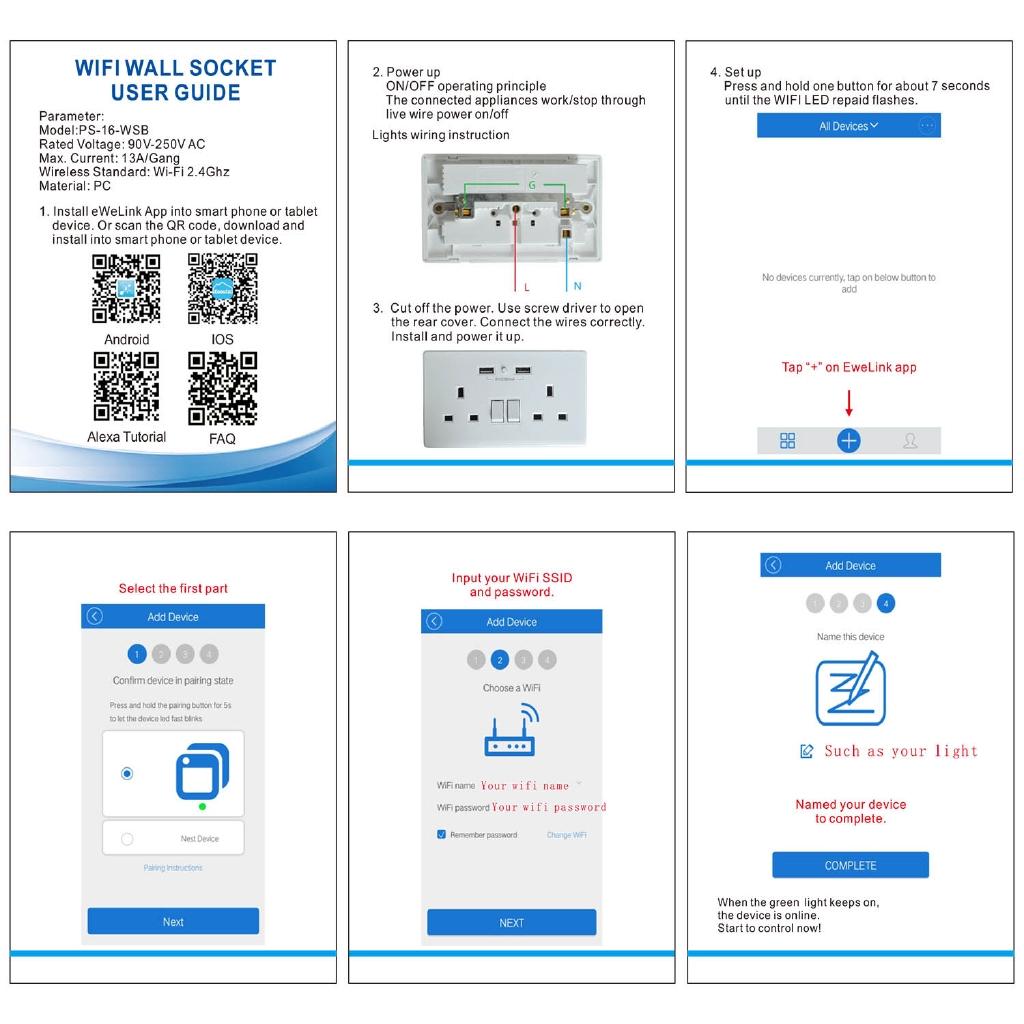 Smart Wall Outlet Dual Sockets UK Plug eWeLink APP Phone