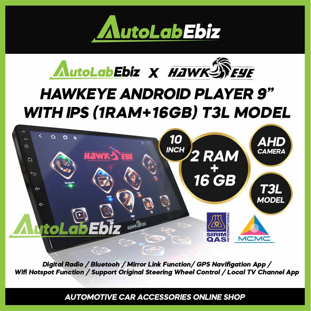 HawkEye Big Screen Android Player 10 inch (2RAM+16GB) with IPS/AHD/T3L