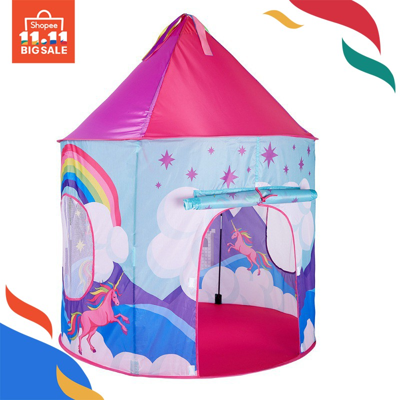 NEW PORTABLE FOLDING BLUE PLAY TENT CHILDRENS KIDS CASTLE CUBBY PLAY HOUSE BT