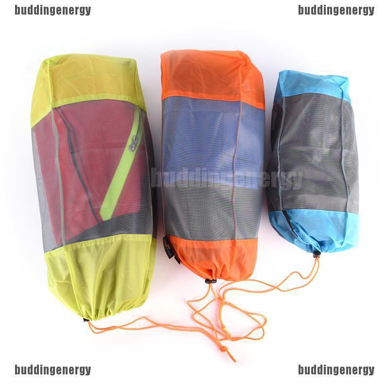 2pcs Medium Travel Drawstring Mesh Stuff Sack Camping Sports Clothes Bag