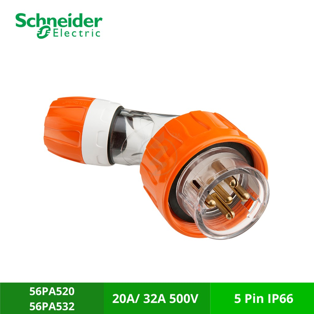 SCHNEIDER 56PA532/20 Angle Plugs , 500V 20A /32A - 5 Round Pins (IP66) Plugs and Extension Sockets