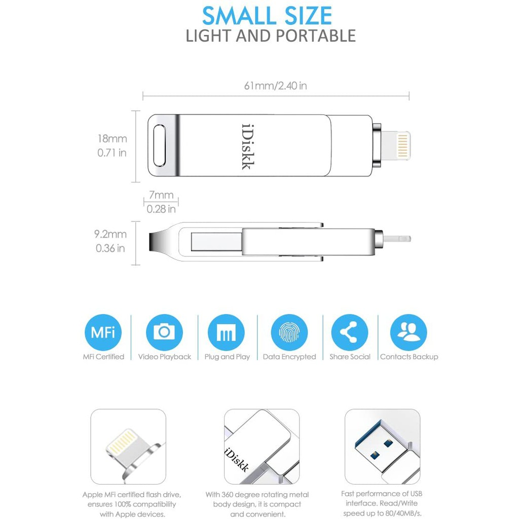 iDiskk MFI Certified 64GB Lightning USB memory stick Flash Drive for iPhone 11 and iPad Storage photo Stick Compatible