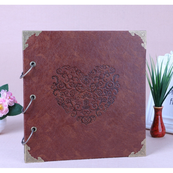 Personalized Vintage Art Leather Diy Photo Album Leather Baby Wedding Guestbook Scrapbook 16 Inch