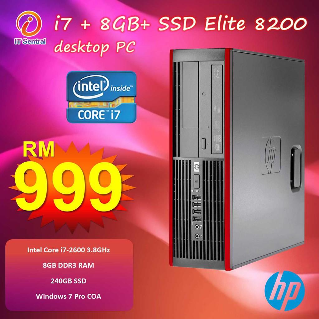 i7 480GB SSD or 240GB SSD HP Elite 8200 desktop PC office & school use