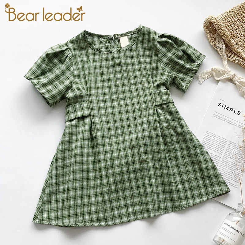 7c0499367 Bear Leader 2019 New Summer Plaid Kids Vintage Round Collar Green Kid Dress  For 1-6Y Children Clothes