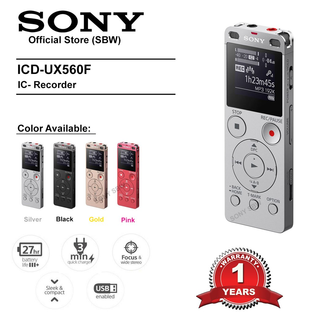 Sony ICDUX560BLK Stereo Digital Voice Recorder with Built-in USB | Shopee Malaysia