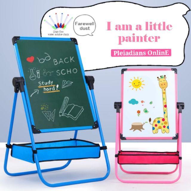 [ READY STOCK ]  Kid Drawing Board Magnetic Double Side Liftable Blackboard Baby Writing Board Budak  Color Pensil Toy