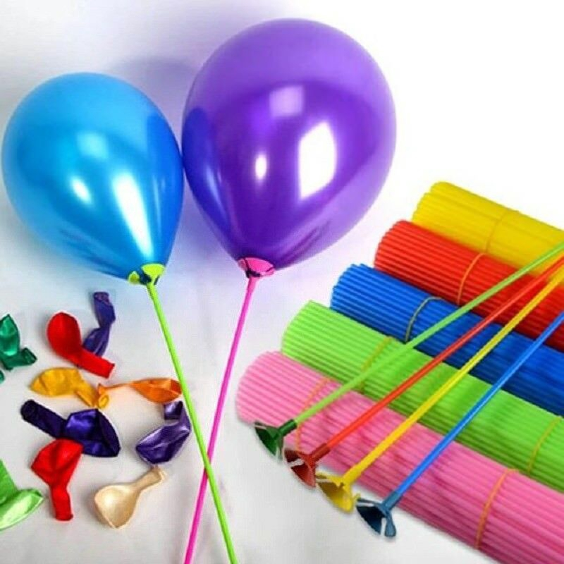 100pcs Plastic Balloon Multicolor Holder Sticks Cup Wedding Party Decoration