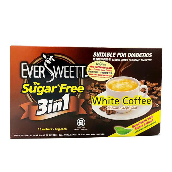Eversweet Sugar-Free White Coffee Suitable for Diabetic 3 in 1 15 Packs