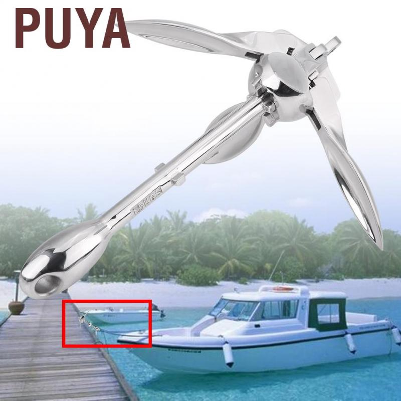 Boat Folding Grapnel Anchor 316 Stainless Steel 1.5 Lb 0.7Kg Marine Yacht