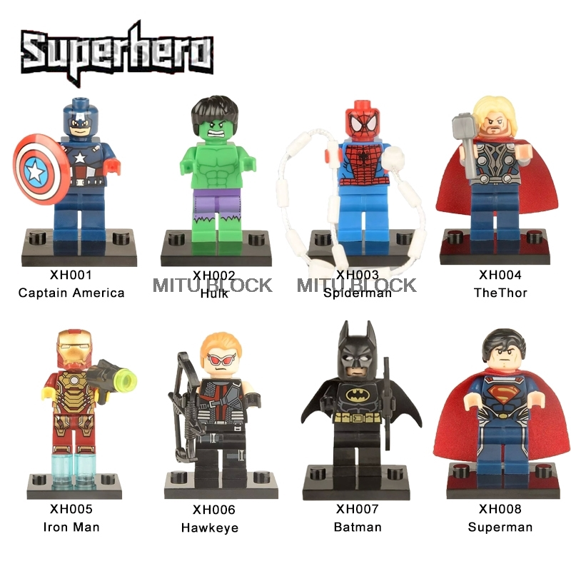 9 PCS Marvel Avengers Mini Figures Fit Lego Hulk Superman thor Batman Spider-Man