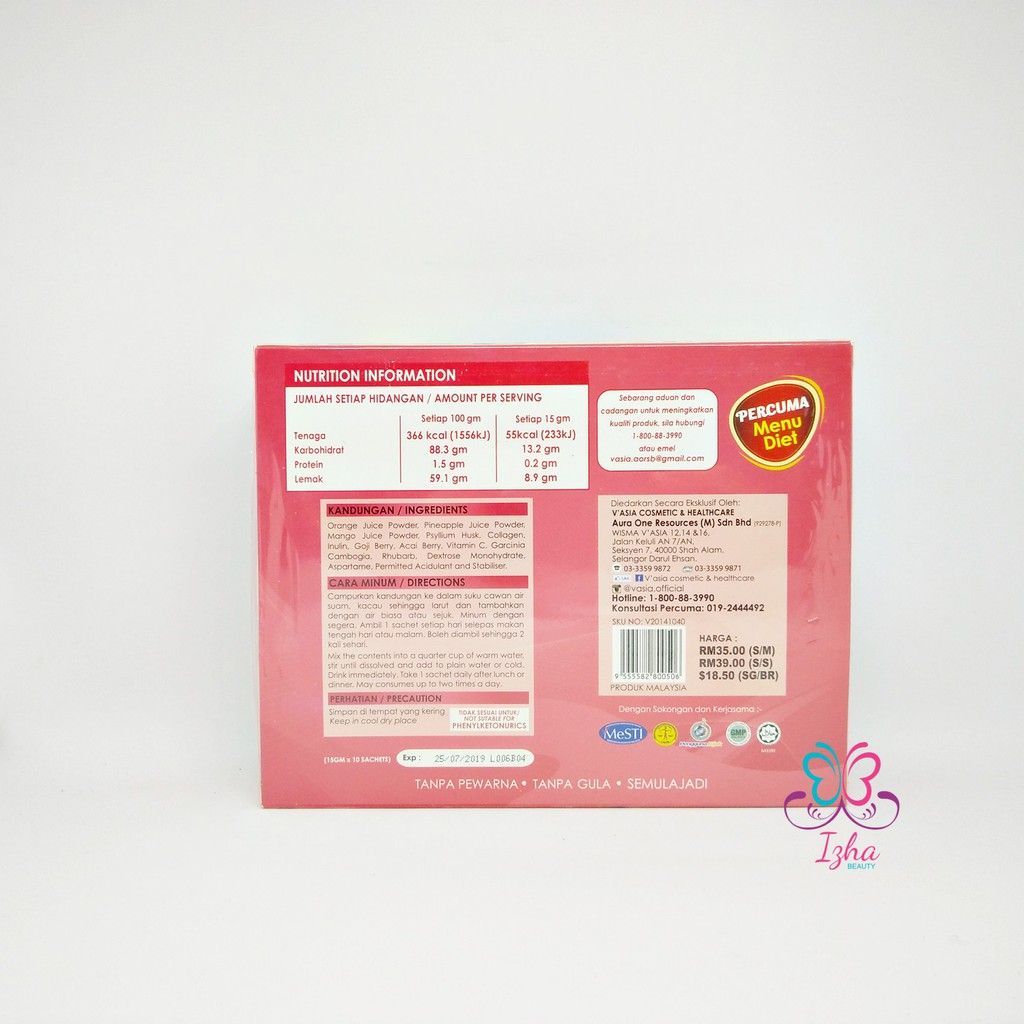 [V'ASIA] Fruity Fiber + Collagen - 10 sachet x 15g