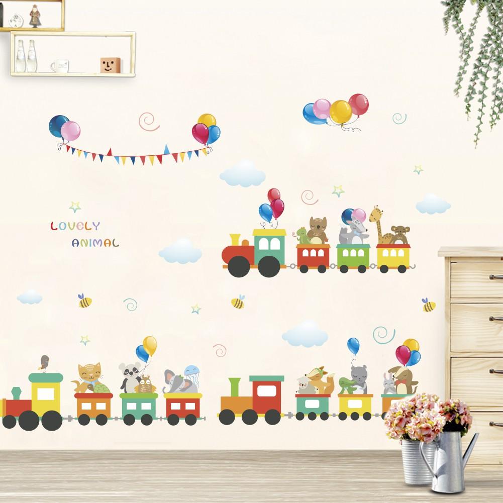 Cartoon small train wall sticker children bedroom bedroom wall sticker