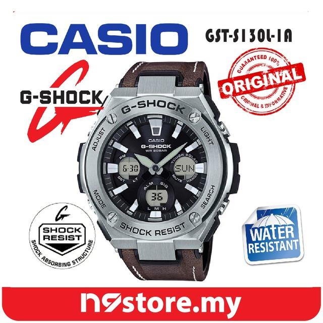 8d5bb64d9229 Casio G-Shock GST-S130L-1A Tough Leather Band Neobrite Double LED Light  Watch