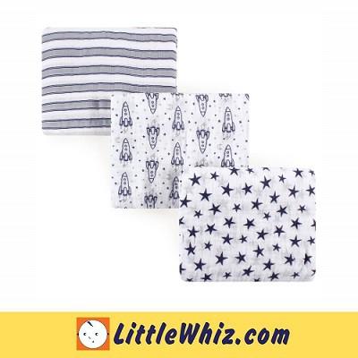 Hudson Baby: Muslin Swaddle Blanket - 3pcs (52072)