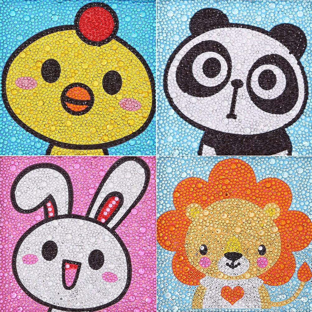 5D DIY Full Drill Diamond Painting Cartoon Animal Kids Embroidery Kit Gift