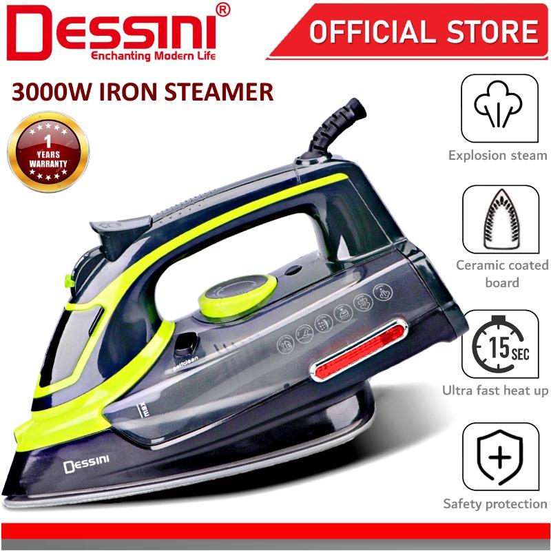 DESSINI ITALY 3000W Electric Ceramic Soleplate Garment Steam Iron Sprayer Steamer Clothes Brush / Seterika Baju