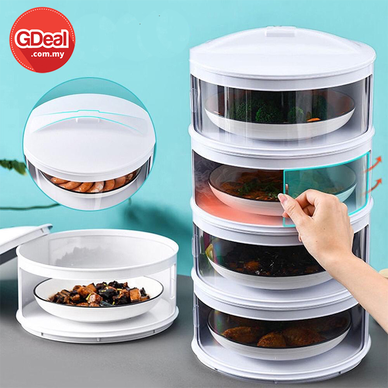 GDeal 4 Layers Food Cover Storage Transparent Stackable Insulation Cover Dustproof For Kitchen Refrigerator Insulation