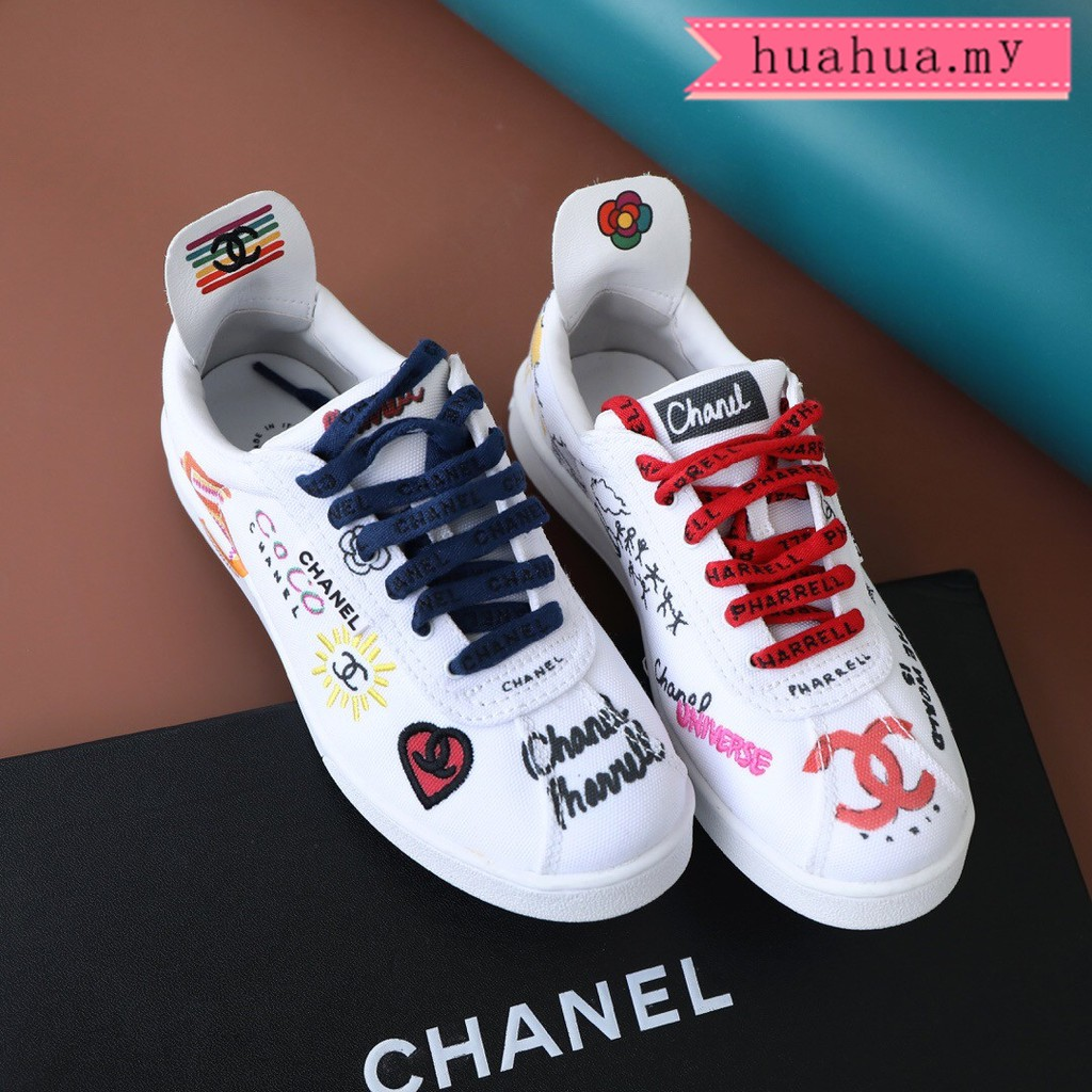 watch f8690 1fee1 Chanel x Pharrell new style Graffiti white shoes Unisex