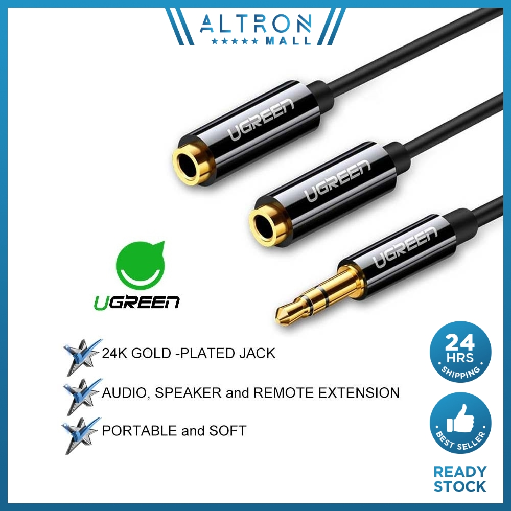 UGREEN 3.5mm Jack Earphone Audio Splitter Adapter 1 Male to 2 Female Extension Aux Cable Android PC Laptop Car MP3 MP4