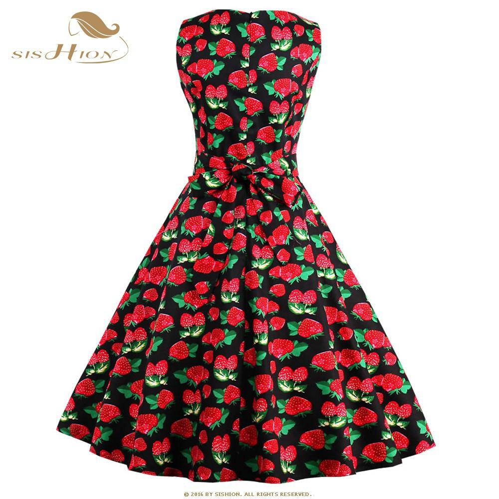 9fe38f8923 SISHION New Casual Black White Strawberry Print Summer Dress Vintage ...