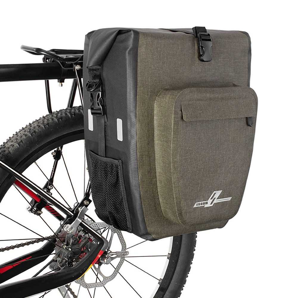 30L Waterproof Bike Rear Rack Bag Bicycle Pannier Bag Shoulder Bag Cycling Touring Grocery Bike Trunk Bag (Khaki)