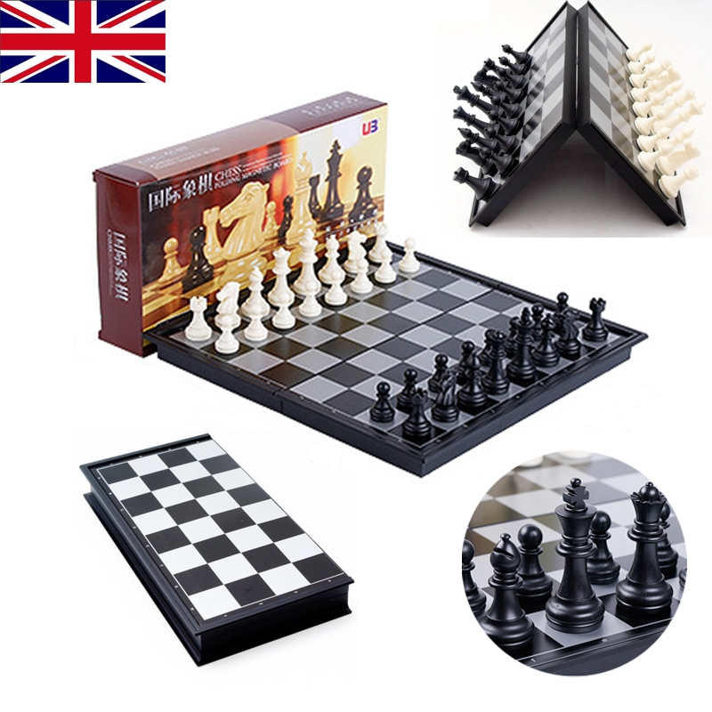 Shine LARGE Magnetic folding chess board portable set with pieces games...