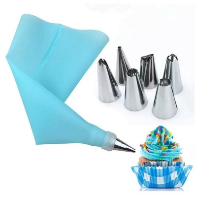 Bake Cake Tool 8 Piece Stainless Steel Decorative Nozzle EVA Mounting Bag (CELESTE)