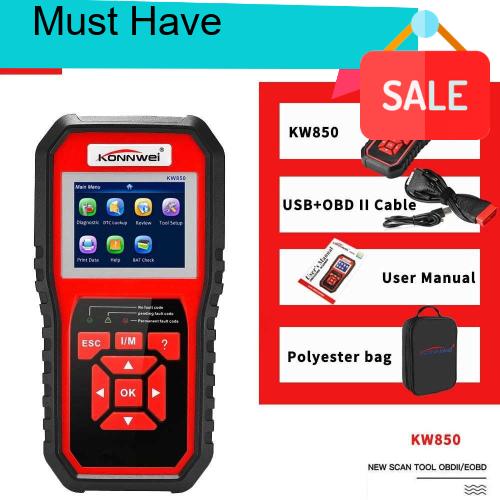 Great Discount KONNWEI OBDII Scanner Code Reader (KW850) Professional OBDII Anto Scanner Car Diagnostic Check Engine Li