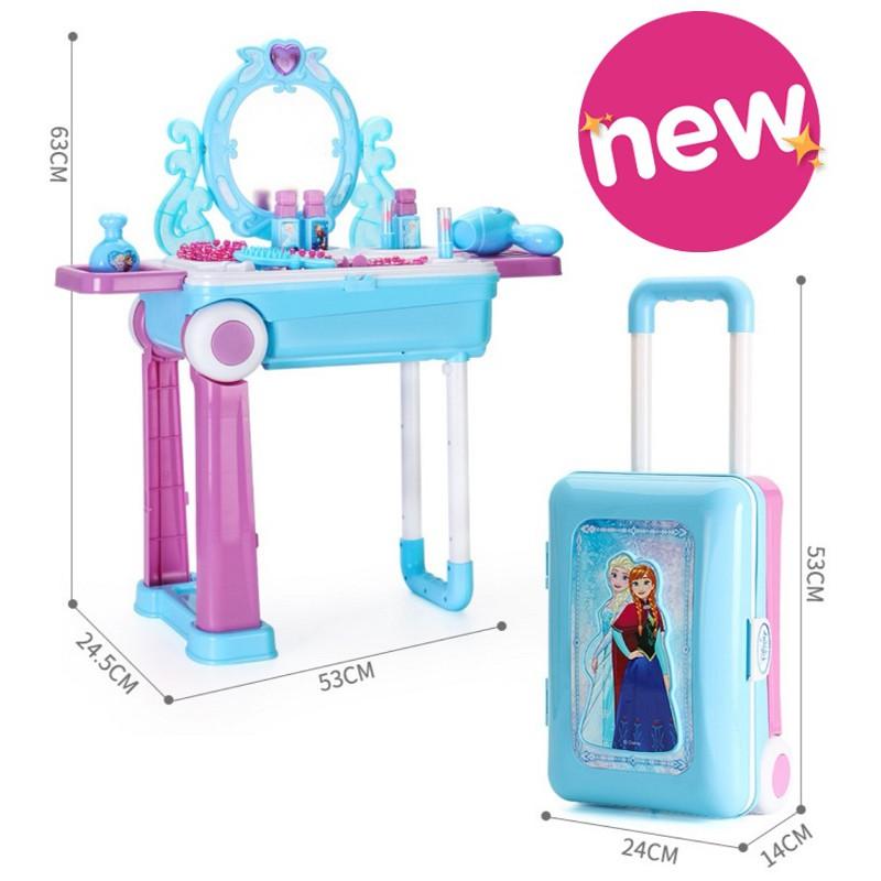 [ READY STOCK ]  Princess Pretend Play Toy Makeup Set Table Frozen Elsa Dressing Jualan Murah Kid Baby Budak Mainan Meja