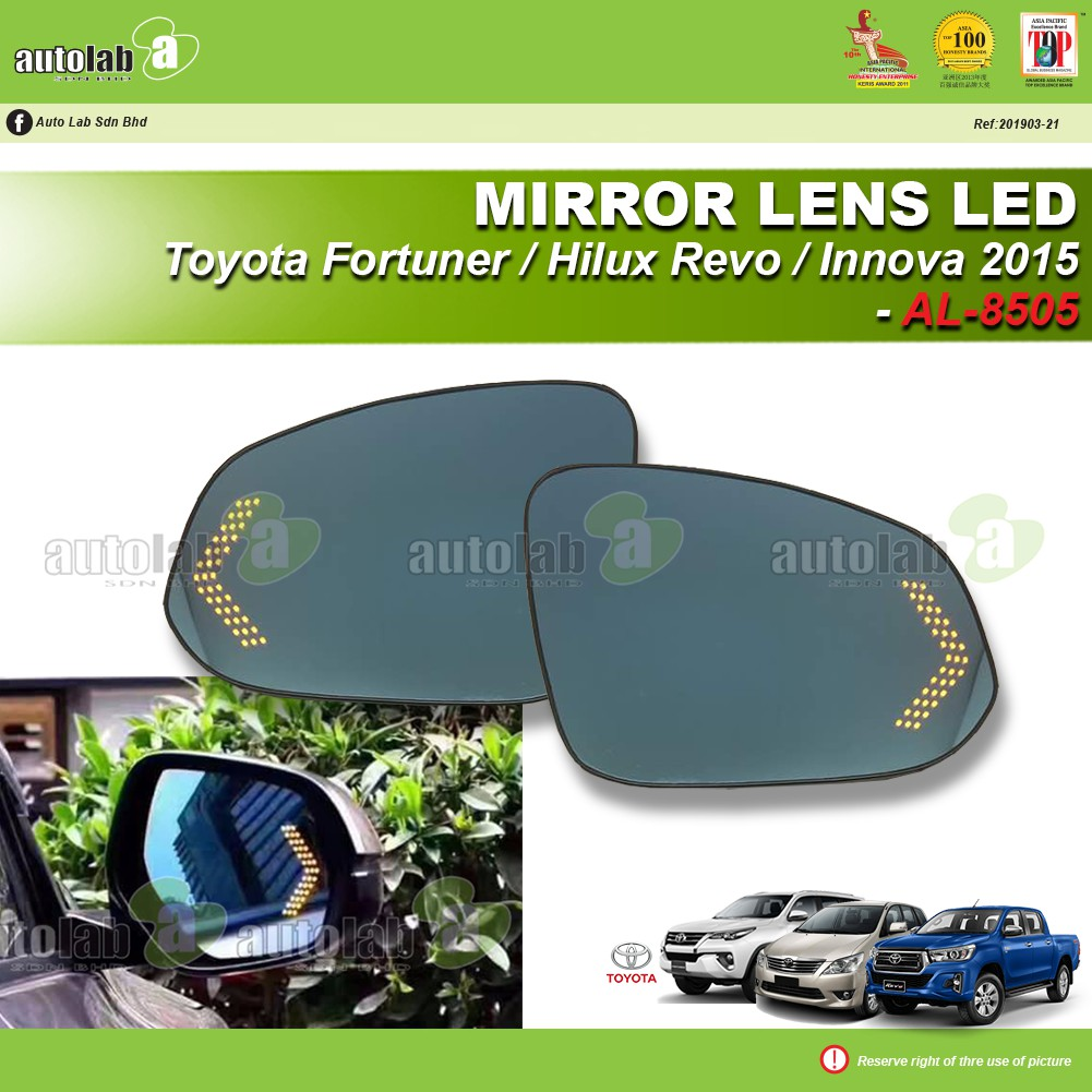 Side Mirror Lens with LED Indicator - Toyota Hilux Revo / Fortuner / Innova 2015
