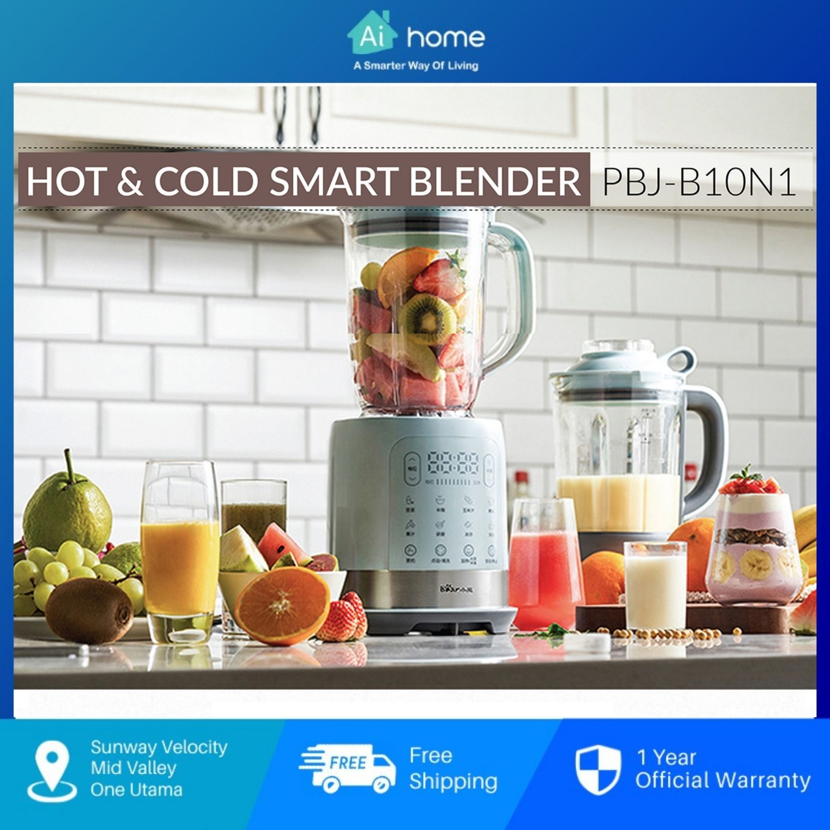 Bear Multifunctional High-Speed Cooking Blender PBJ-B10N1 - Smart Crushing and Cooking   Stainless Steel Blade [Aihome]